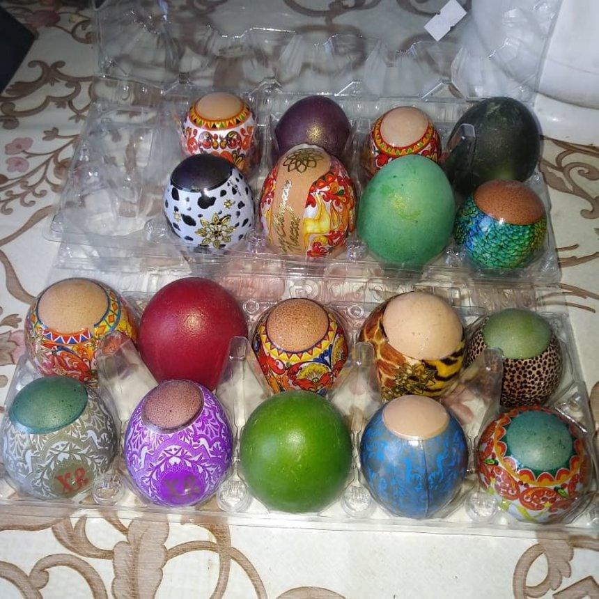 Отчёт по занятию Пасхальные яйца из картона и пластилина в Wachanga!