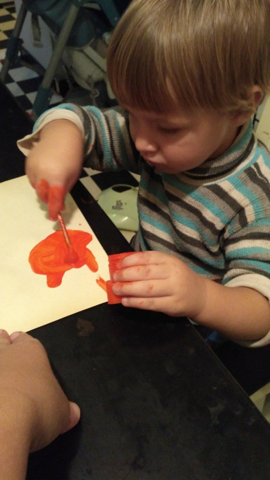 Отчёт по занятию Предложите малышу заняться рисованием пальчиковыми красками в Wachanga!