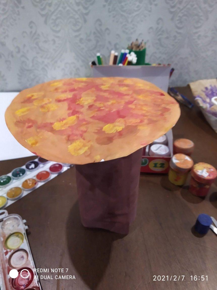 Отчёт по занятию Осеннее дерево из бумажной тарелки  в Wachanga!