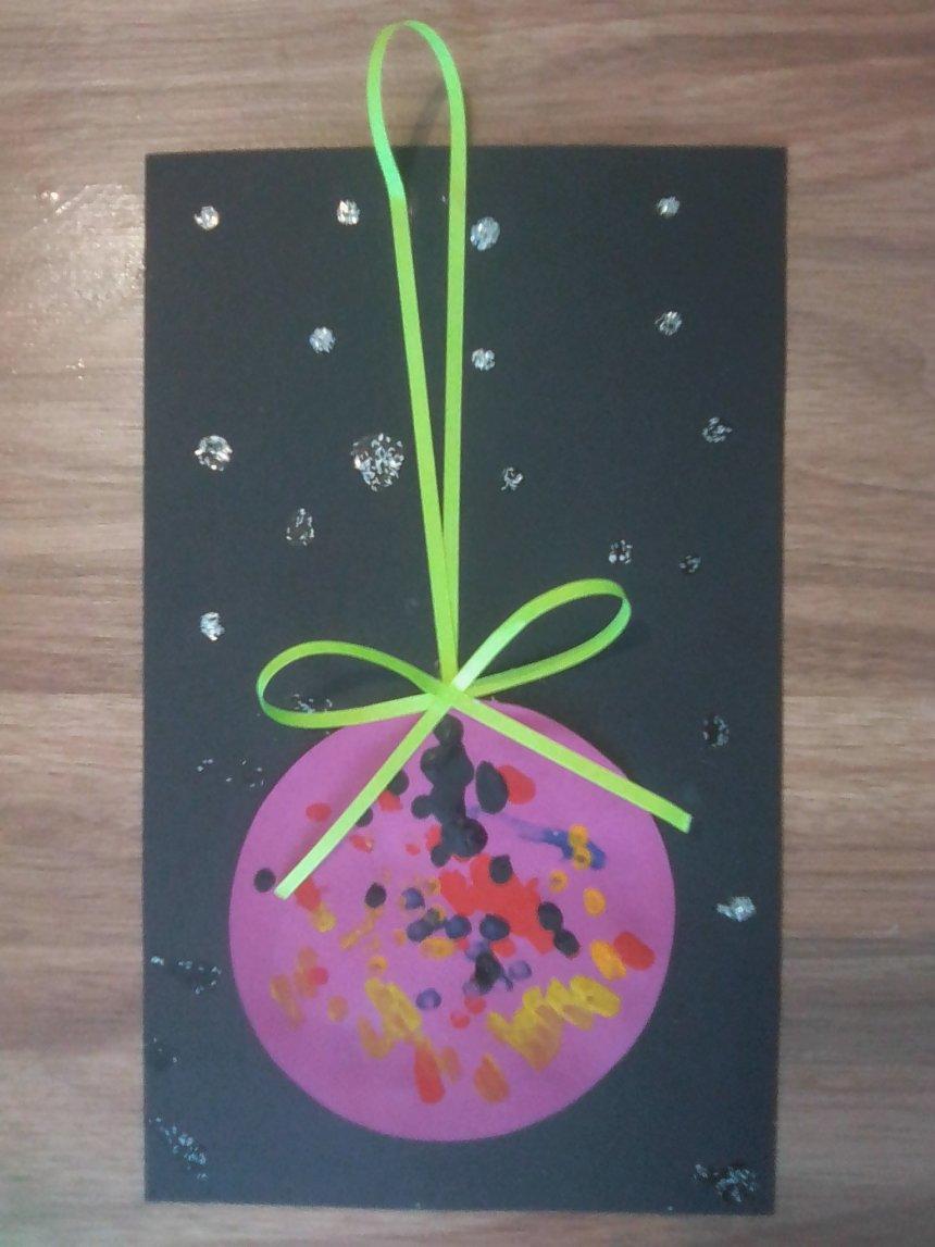 Отчёт по занятию Новогодняя открытка «Красный шар» в Wachanga!