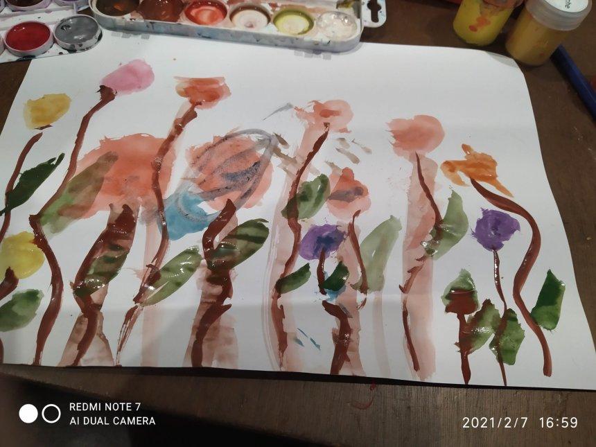 Отчёт по занятию Открытка «Цветочная полянка» в Wachanga!
