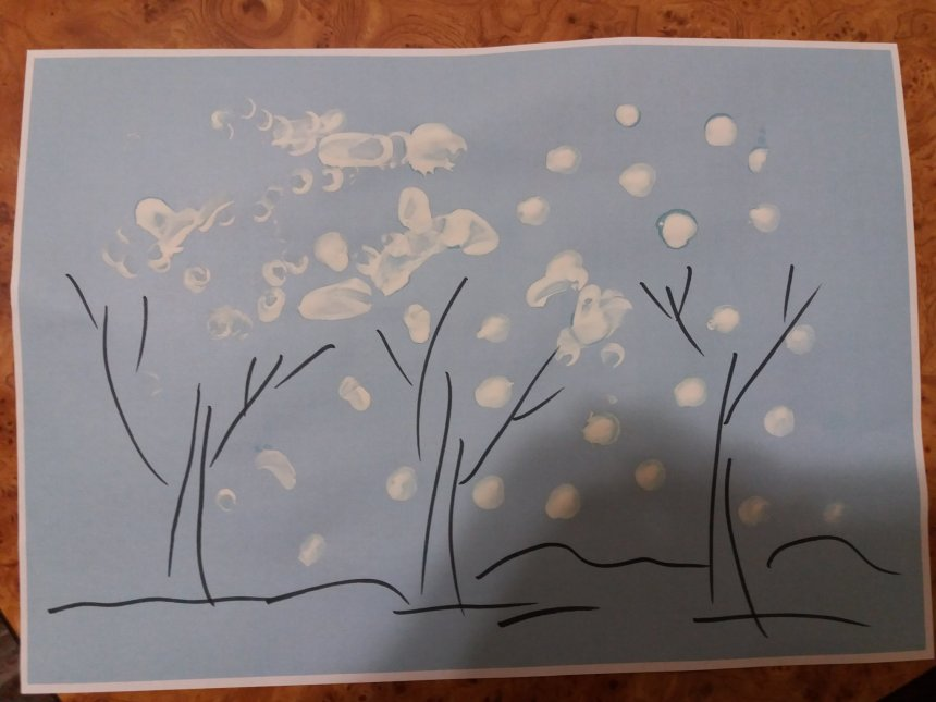 Отчёт по занятию Нарисуйте с малышом первый снег в Wachanga!