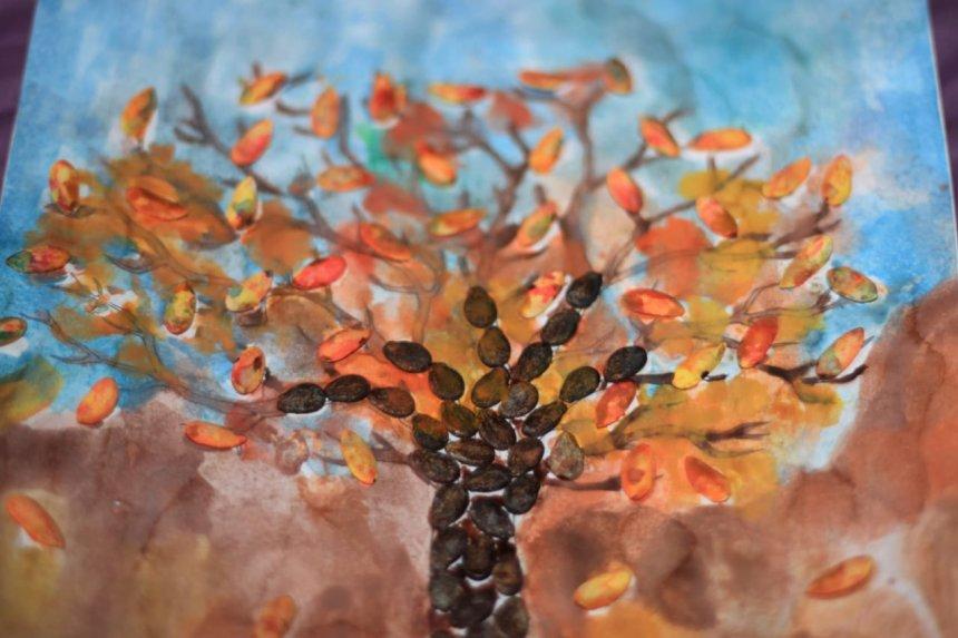 Отчёт по занятию Осенняя аппликация из тыквенных семечек в Wachanga!