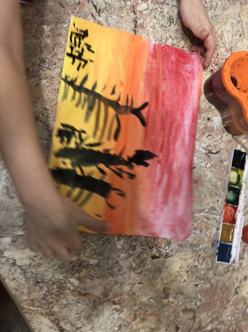 Отчёт по занятию Нарисуйте вместе с ребенком закат в пустыне в Wachanga!