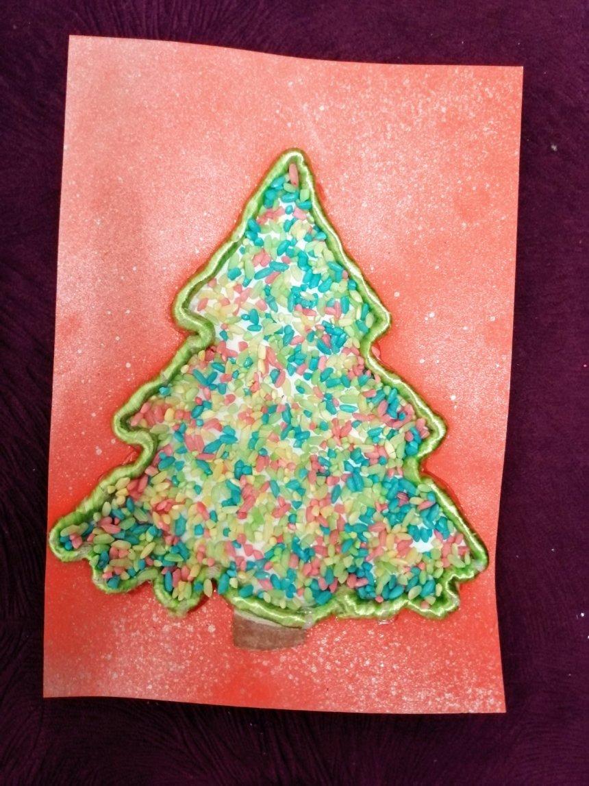 Отчёт по занятию Новогодняя открытка руками ребёнка в Wachanga!
