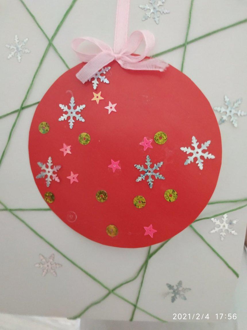 Отчёт по занятию Новогодняя открытка «Ёлочный шарик» в Wachanga!