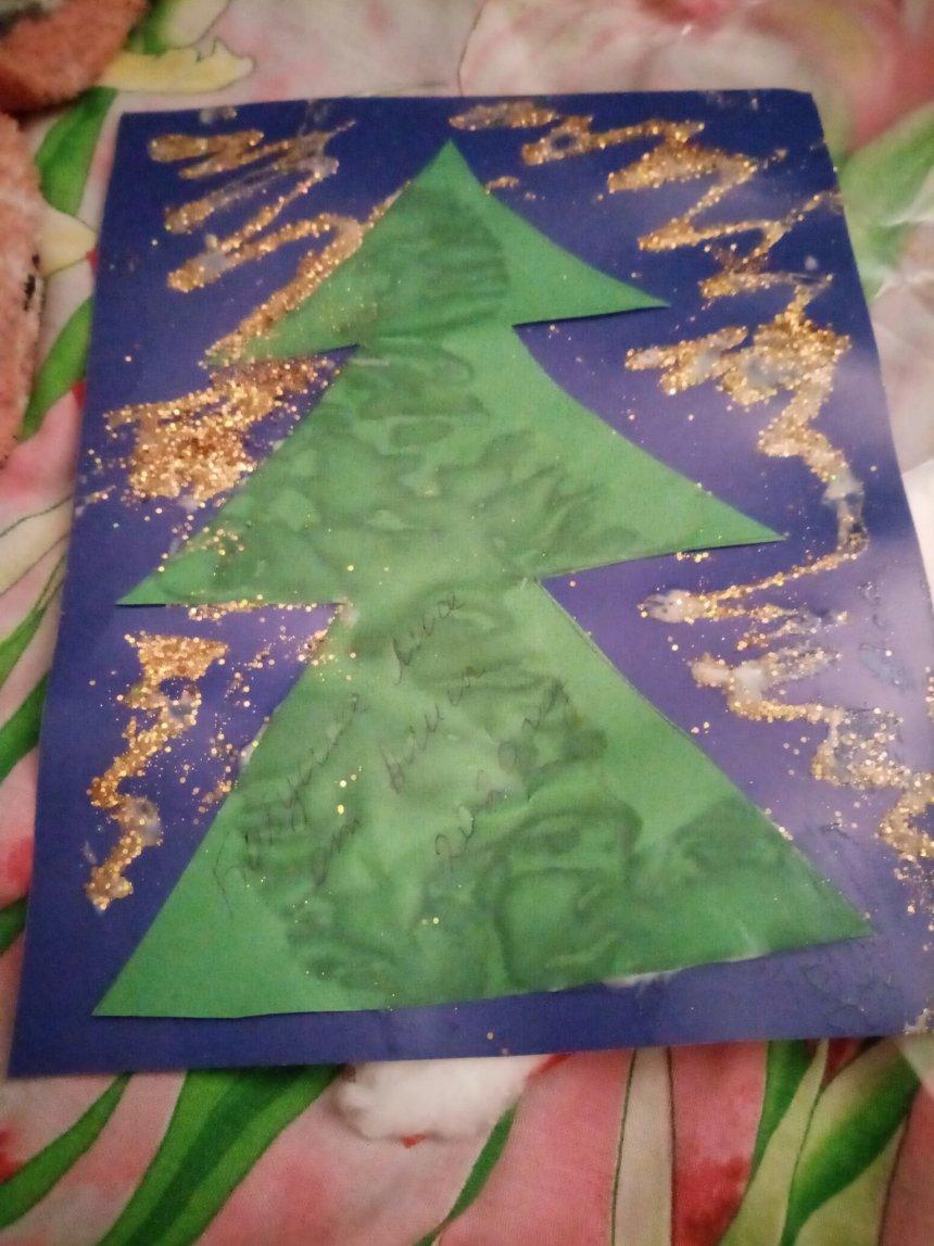 Отчёт по занятию Сделайте с ребёнком новогодние открытки с ёлочками в Wachanga!