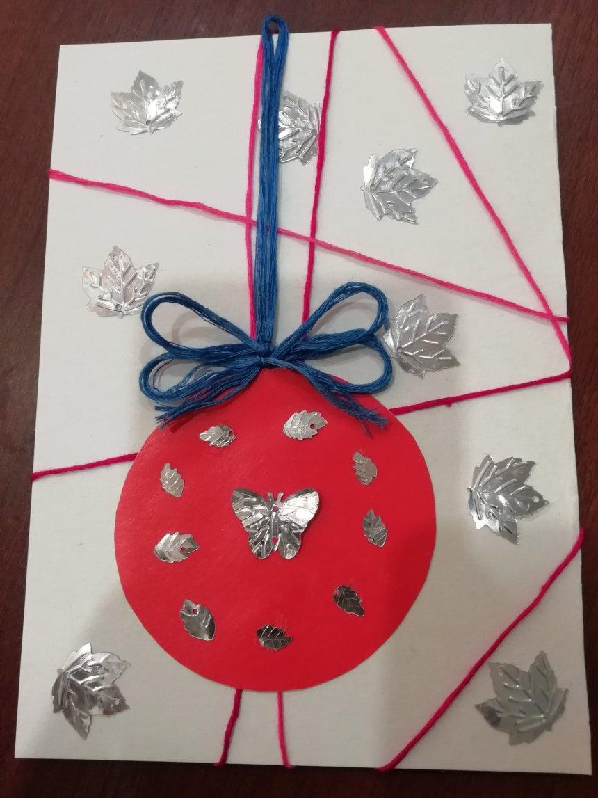 Отчёт по занятию Новогодняя открытка с разноцветными нитями в Wachanga!
