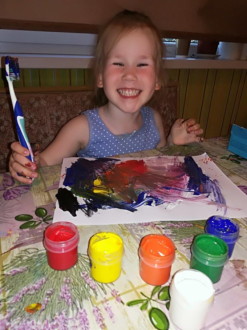 Отчёт по занятию Порисуйте с помощью зубных щеток в Wachanga!