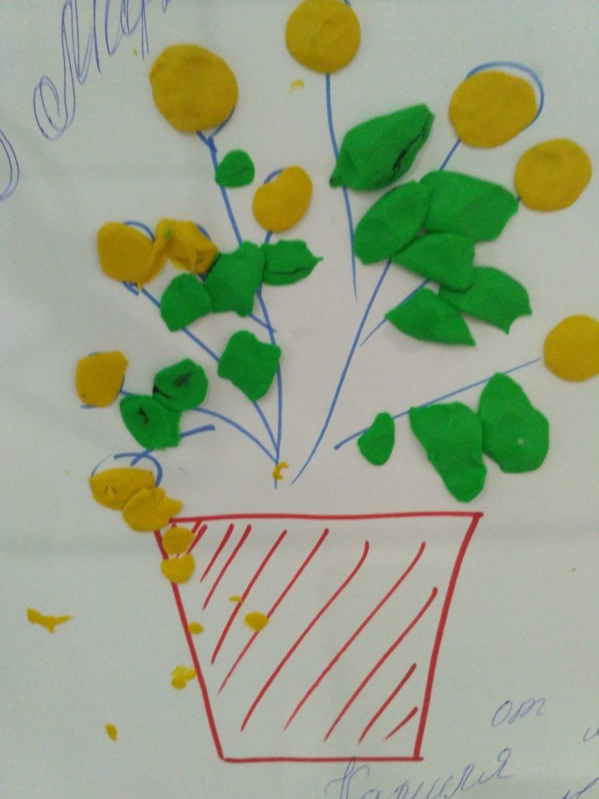 "Отчёт по занятию Пластилиновая аппликация ""Мимоза"" в Wachanga!"