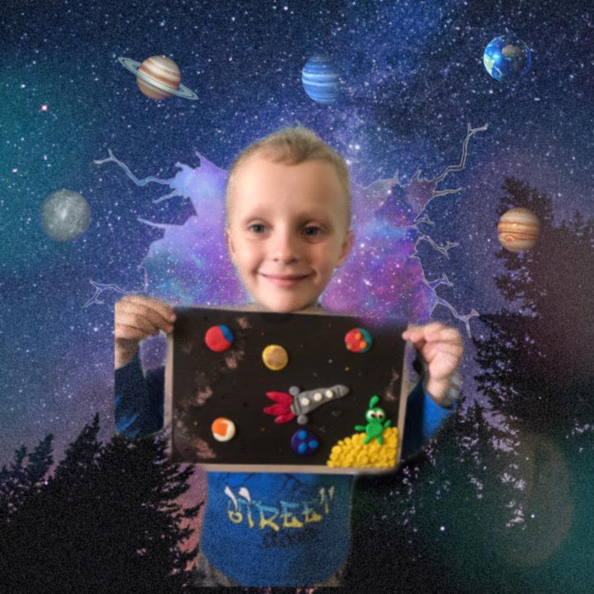 Отчёт по занятию Пластилиновая аппликация «Космос» в Wachanga!